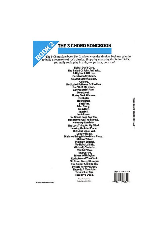 The 3 Chord Songbook Book 2 - Lyrics & Chords Sheet Music - Tuition ...
