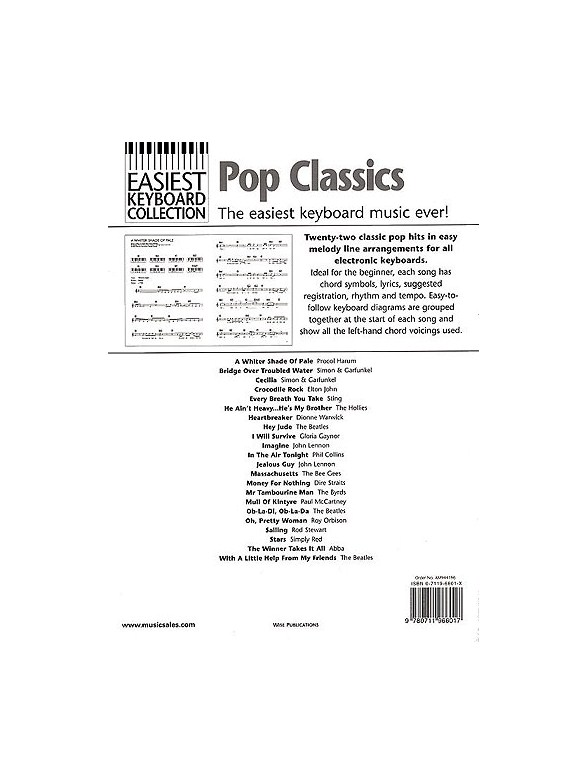 Easiest Keyboard Collection: Pop Classics - Melody Line, Lyrics ...