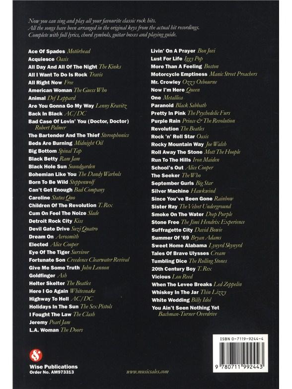 The Big Guitar Chord Songbook: Classic Rock - Lyrics & Chords Sheet ...