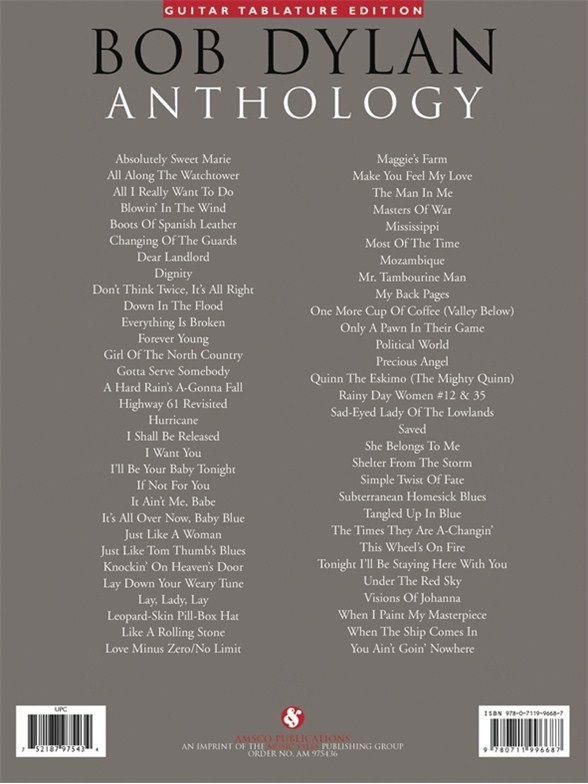 Bob Dylan: Anthology - Guitar Tab Sheet Music - Sheet Music ...
