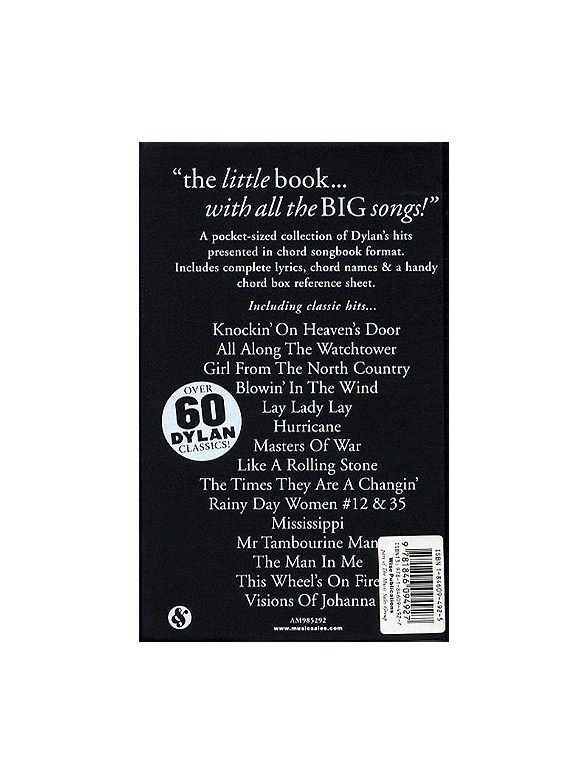 The Little Black Songbook Bob Dylan Lyrics Chords Sheet Music