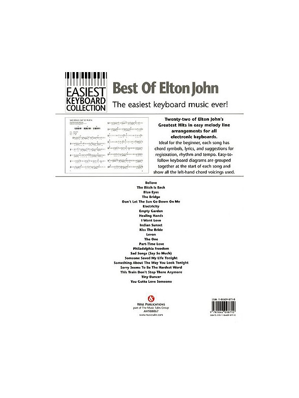 Easiest Keyboard Collection Best Of Elton John Keyboard Sheet