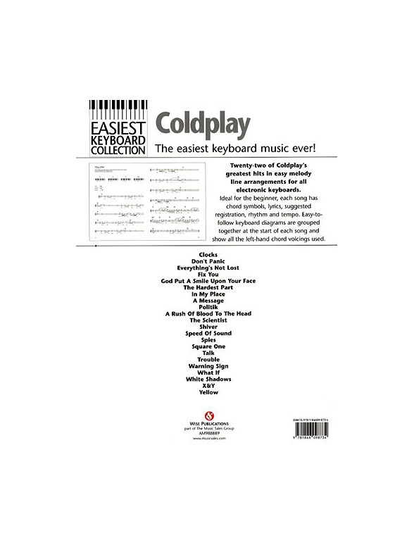 Easiest Keyboard Collection Coldplay Keyboard Sheet Music Sheet