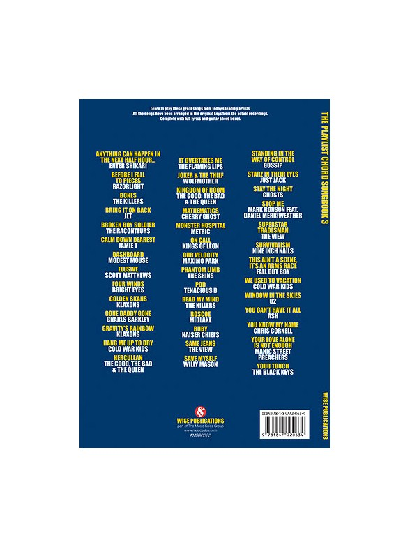 The Playlist Chord Songbook 3 Lyrics Chords Sheet Music