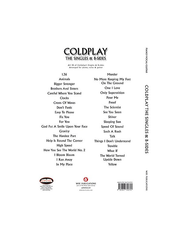Coldplay The Singles B Sides Pvg Piano Vocal Guitar Sheet