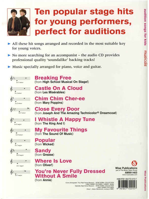 Audition Songs For Kids Musicals Piano Vocal Amp Guitar