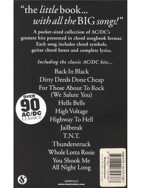 The Little Black Songbook: AC/DC - Lyrics & Chords Sheet Music ...