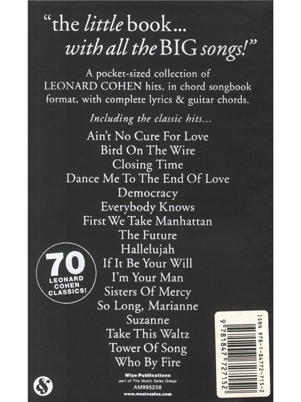 The Little Black Songbook Leonard Cohen Lyrics Chords Sheet