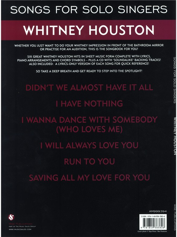 Songs For Solo Singers Whitney Houston Piano Vocal Guitar