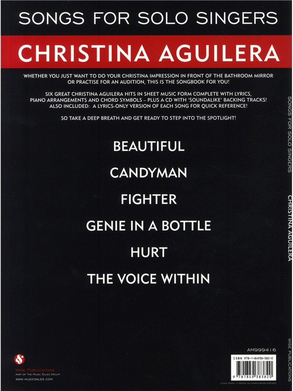 Songs For Solo Singers Christina Aguilera Piano Vocal Guitar