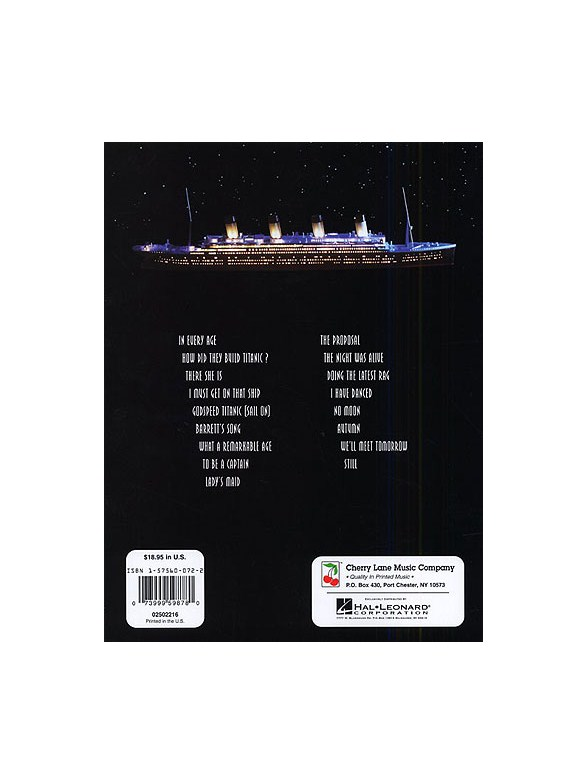 Maury Yeston Titanic A New Musical Vocal Selections Piano