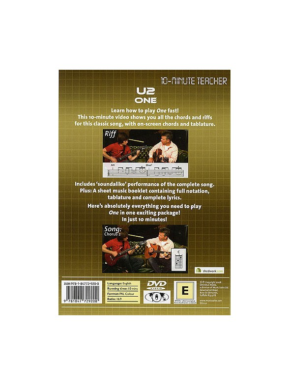 10 Minute Teacher U2 One Guitar Books Tuition Musicroom