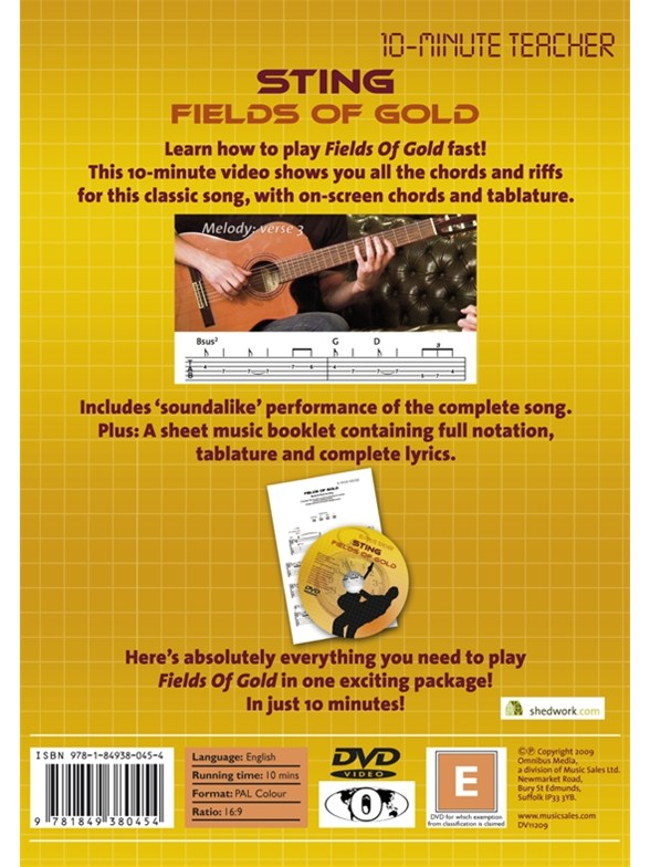 10-Minute Teacher: Sting - Fields Of Gold - Guitar Books - Tuition ...