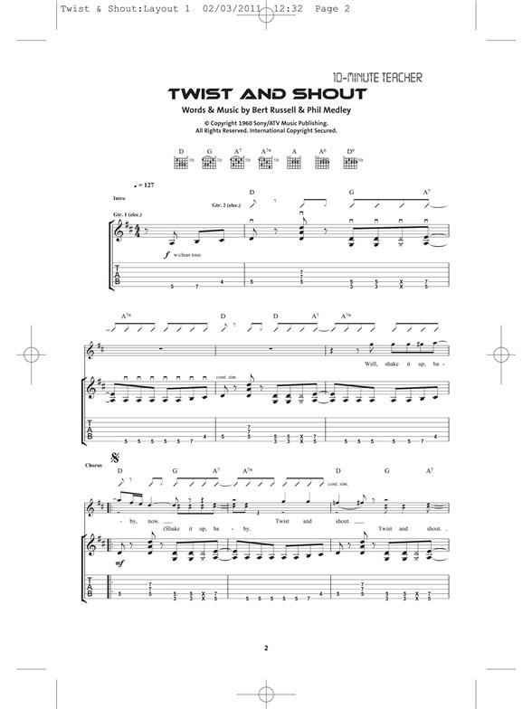 10 Minute Teacher The Beatles Twist And Shout Guitar Books