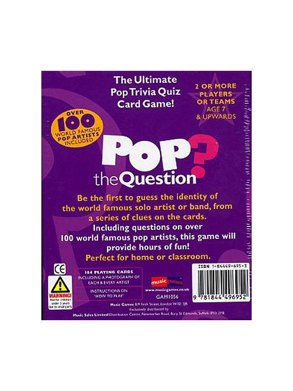 Games Room Pop Music Quiz Game