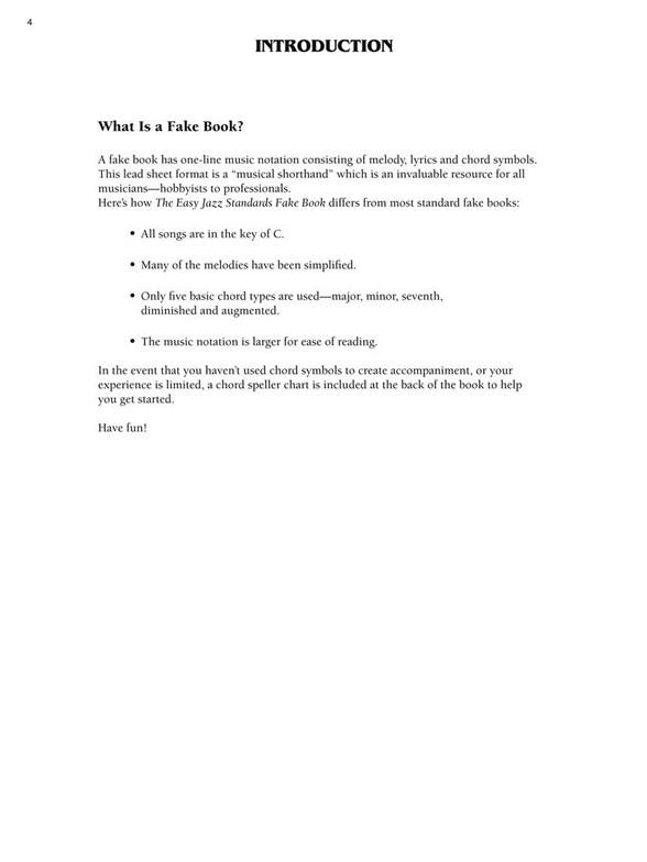 The Easy Jazz Standards Fake Book Melody Line Lyrics Chords