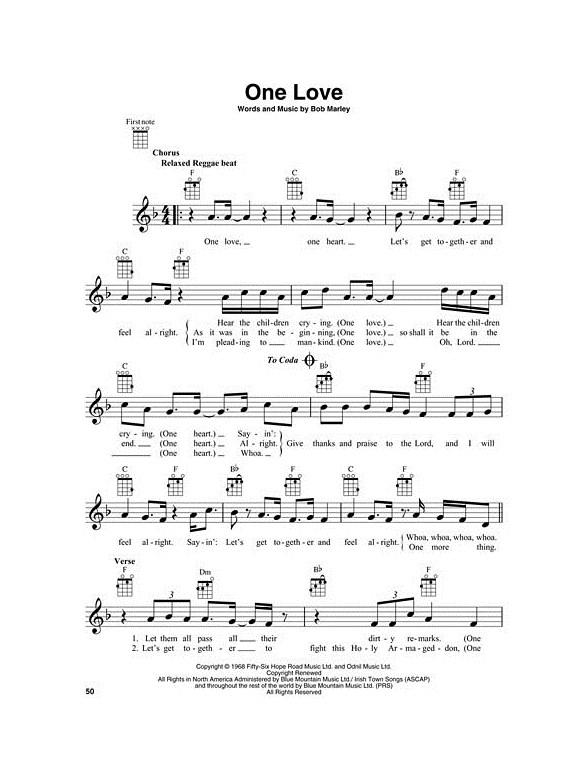Bob Marley For Ukulele Ukulele Sheet Music Sheet Music
