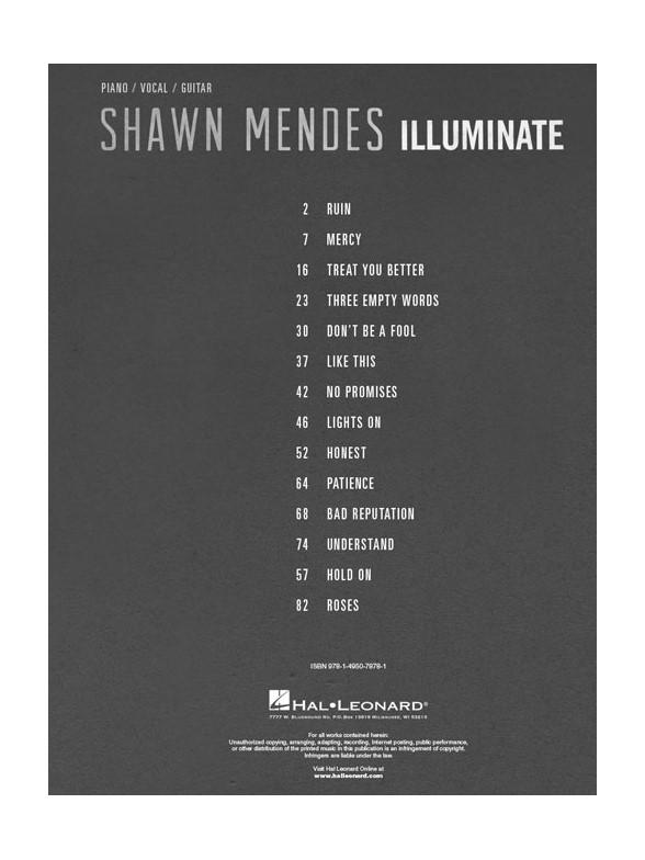 Shawn Mendes Illuminate Piano Vocal Amp Guitar Sheet