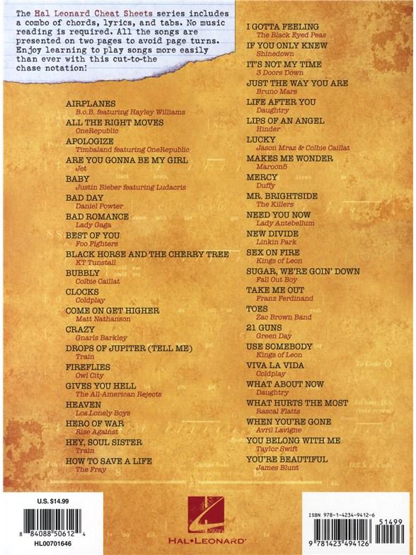 Guitar Cheat Sheets Top Hits 44 Mega Hits In Musical Shorthand