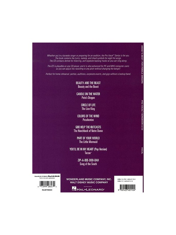 Disney\'s Best (Female Singers) - Melody Line, Lyrics & Chords Sheet ...