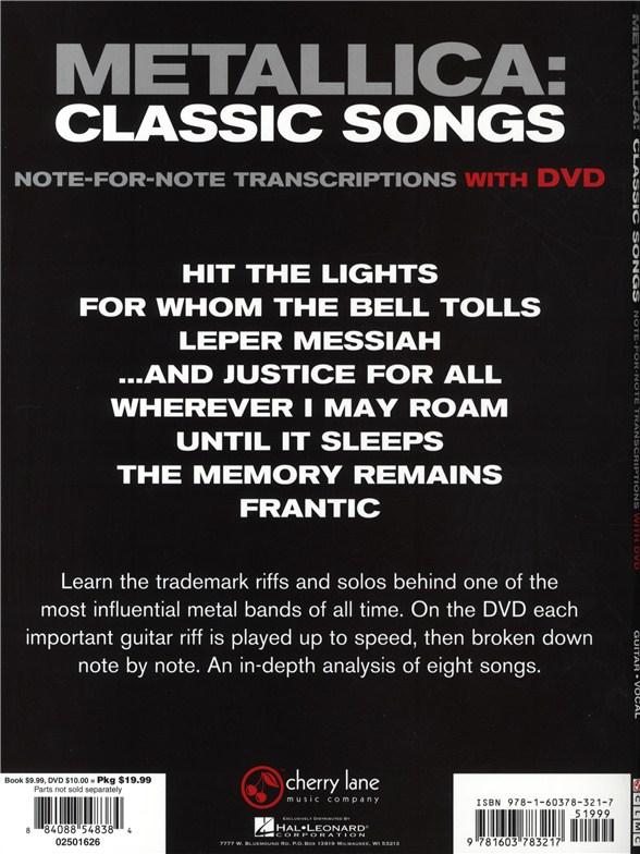 Metallica: Classic Songs - Guitar (Book/DVD) - Guitar Sheet Music ...