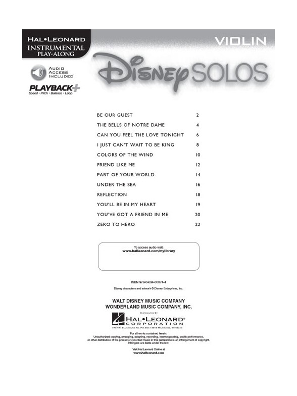 Disney Solos (Violin) (Book/Online Audio) - Violin Sheet Music ...