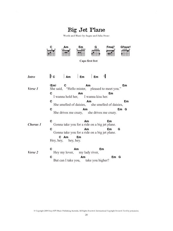 Angus Julia Stone Guitar Chord Songbook Lyrics Chords Sheet
