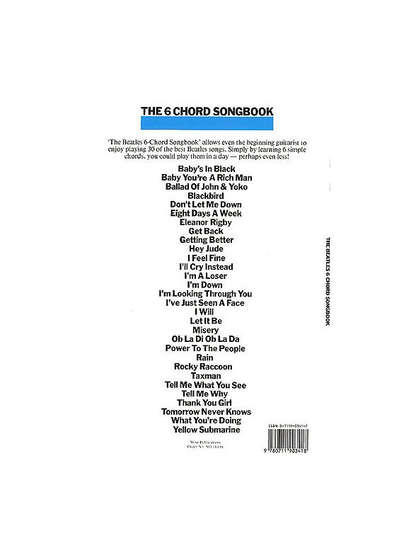 The Beatles: The 6 Chord Songbook - Lyrics & Chords Sheet Music ...