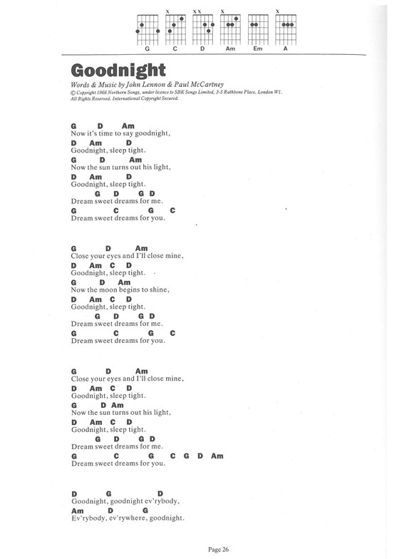 The Beatles The 6 Chord Songbook 2 Lyrics Chords Sheet Music