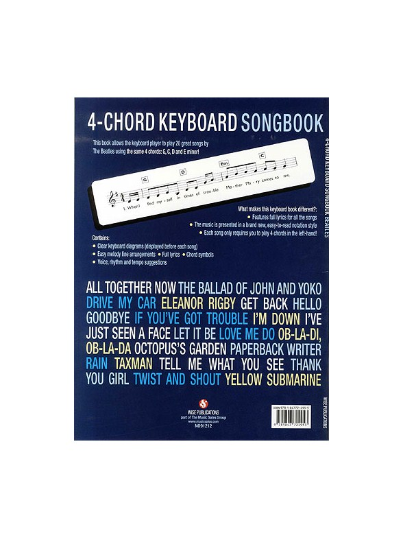 4 Chord Keyboard Songbook Beatles Keyboard Sheet Music Sheet