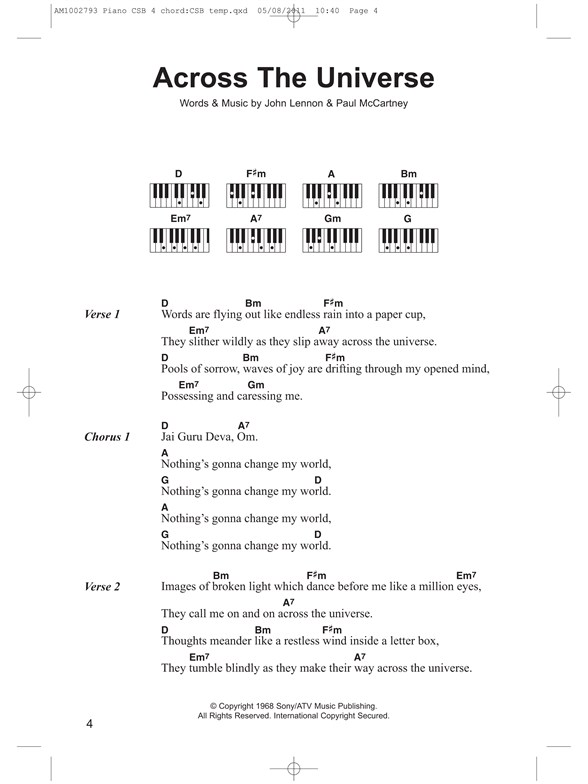 Piano Chord Songbook: The Beatles Hits - Lyrics & Piano Chords Sheet ...