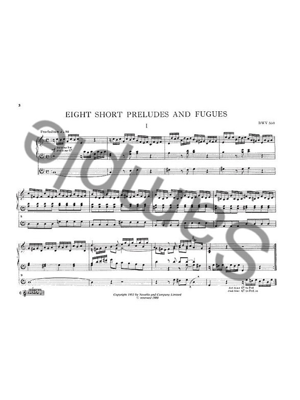 Eight Little Organ Preludes And Fugues For Piano
