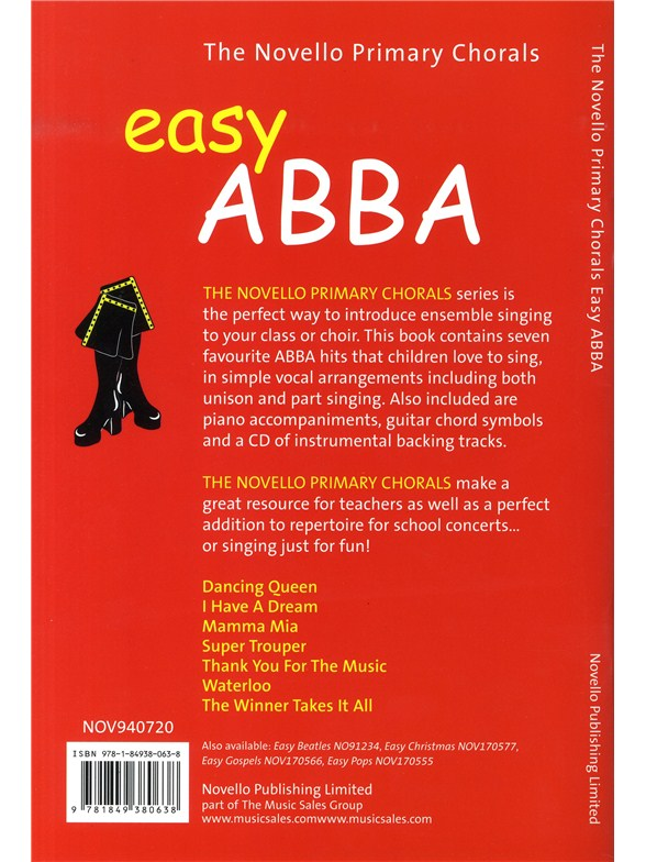 The Novello Primary Chorals: Easy Abba - Piano Accompaniment Sheet ...