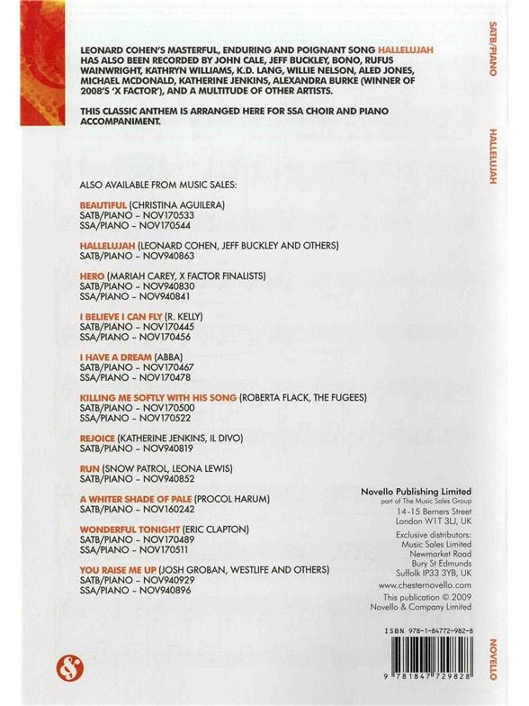 Leonard Cohen Hallelujah Ssapiano Piano Accompaniment Sheet