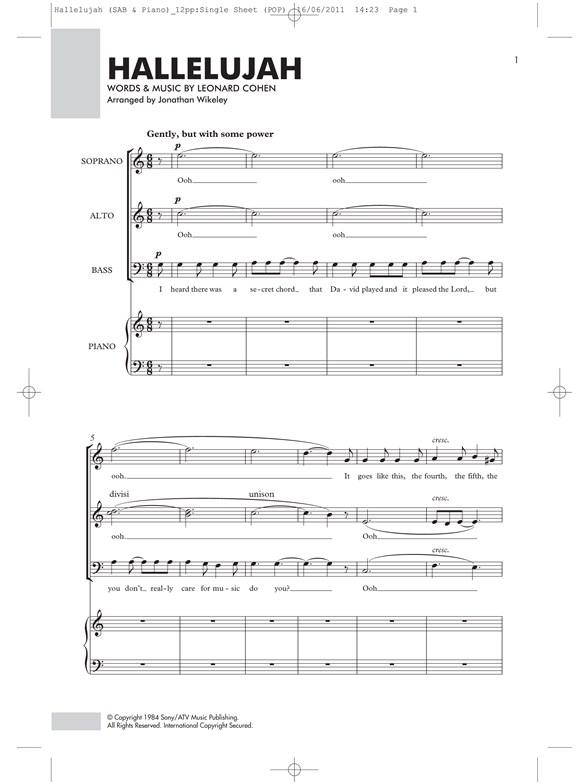 Leonard Cohen Hallelujah Sabpiano Sab Sheet Music Sheet