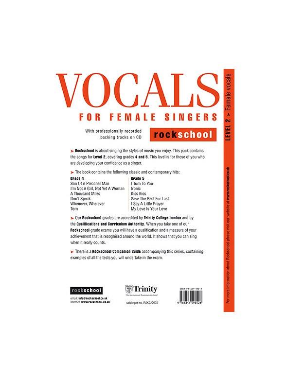 Rockschool Vocals For Female Singers - Level 2 - Melody Line, Lyrics ...