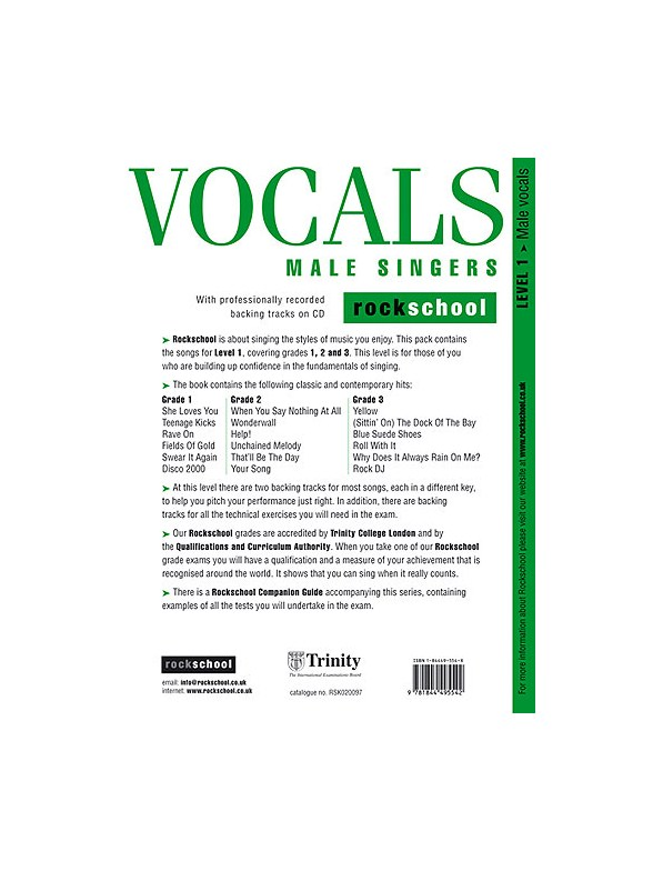 Rockschool Vocals For Male Singers - Level 1 - Melody Line, Lyrics ...