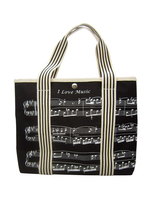 Canvas Tote Bag With Treble Clef Sheet Music Design