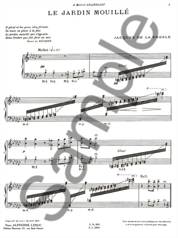 Jacques de la presle le jardin mouill harp harp sheet music sheet music songbooks for Le jardin moulleau