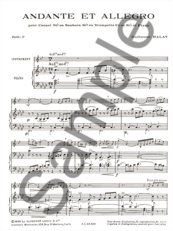 music Andante trumpet sheet and allegro