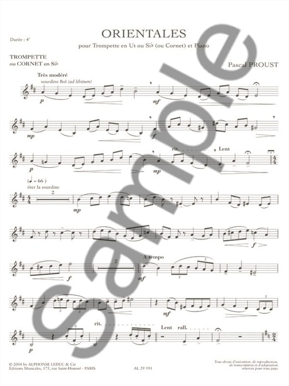 pascal proust orientales trumpet or cornet piano piano accompaniment sheet music sheet. Black Bedroom Furniture Sets. Home Design Ideas