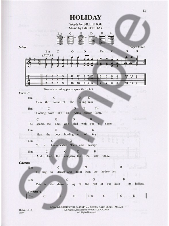 Green Day: Favourites To Strum And Sing - Guitar Tab Sheet Music ...