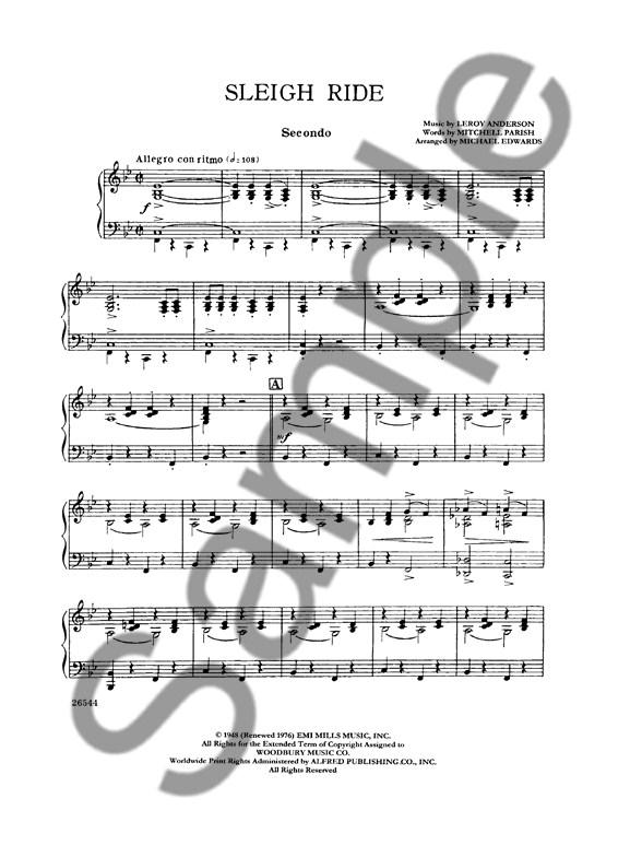 Leroy Anderson Sleigh Ride Piano Duet 1 Piano 4 Hands Piano