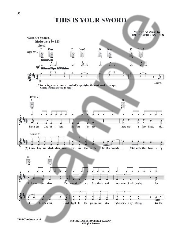 Bruce Springsteen High Hopes Guitar Tab Guitar Sheet Music