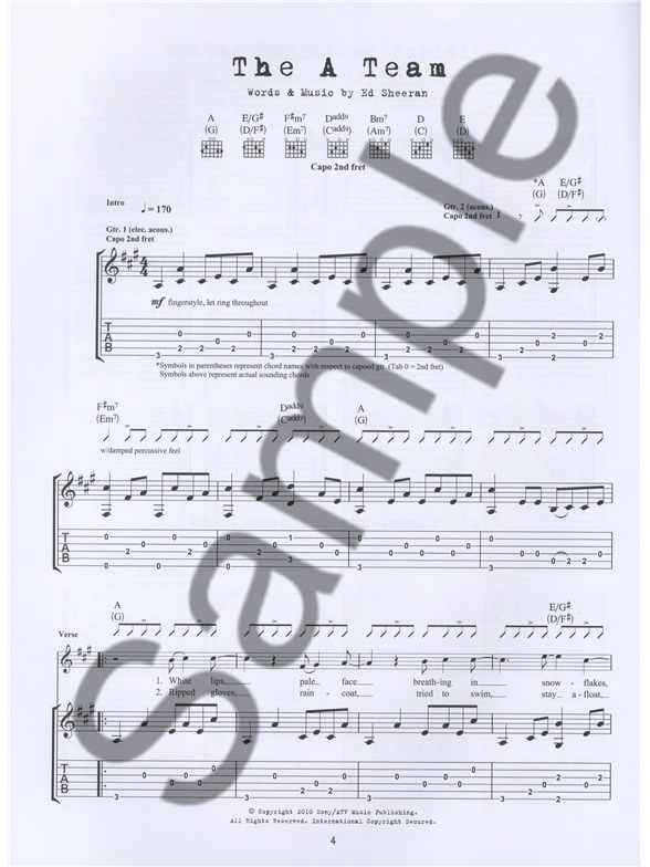 Ed Sheeran Tab Guitar Sheet Music Sheet Music Songbooks
