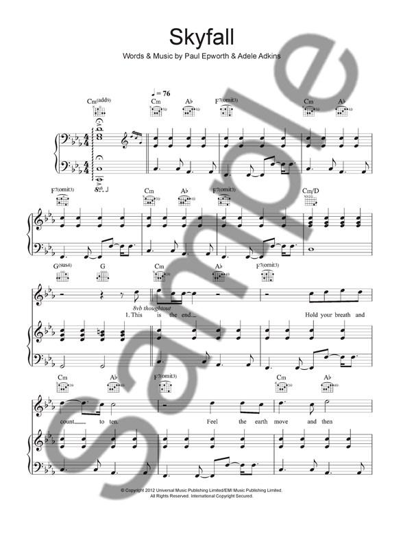 Adele: Skyfall - James Bond Theme - Piano, Vocal & Guitar Digital ...