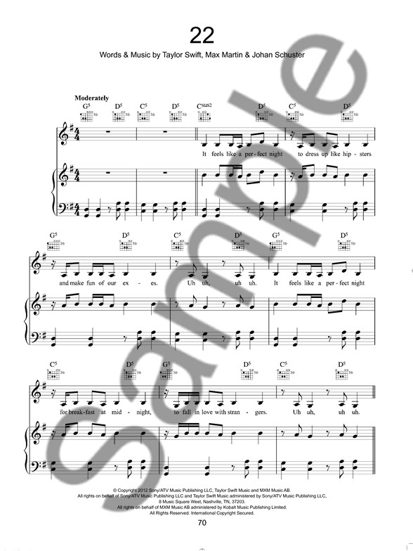 Best Of Taylor Swift - Piano, Vocal & Guitar Sheet Music - Sheet ...