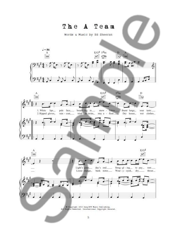 The Best Of Ed Sheeran Pvg Piano Vocal Guitar Sheet Music