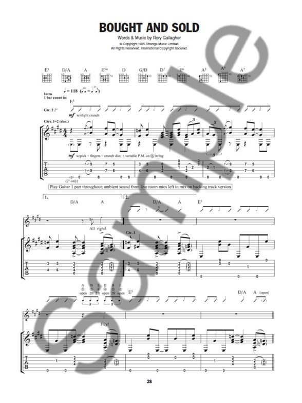 play guitar with    rory gallagher  book  audio download  - guitar sheet music