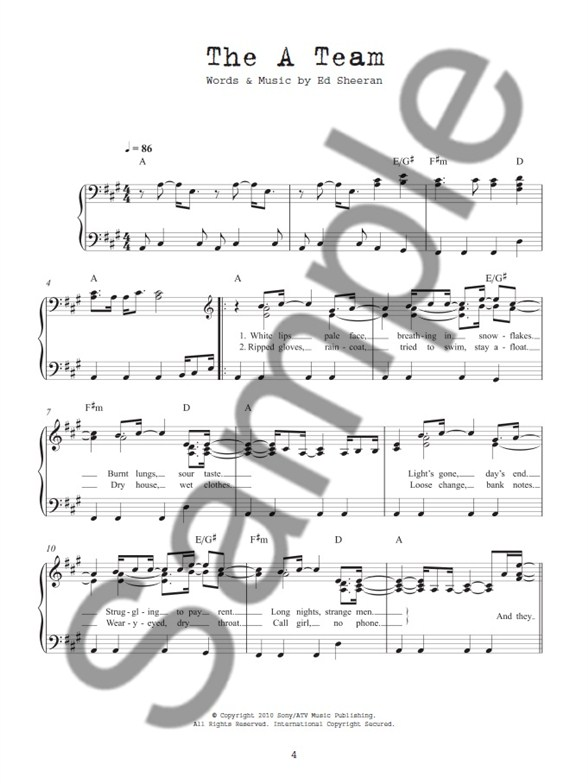 The Best Of Ed Sheeran For Easy Piano - Easy Piano Sheet Music ...